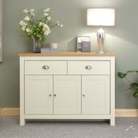 See more information about the Lancaster Sideboard Cream & Oak 3 Door 2 Drawer