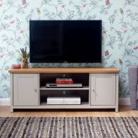 See more information about the Lancaster TV Unit Grey & Oak 2 Door 2 Shelf Large