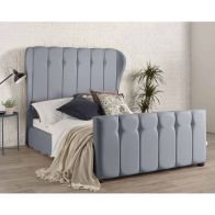 See more information about the Lauren Wing Back Blue 4ft 6in Double Bed Frame