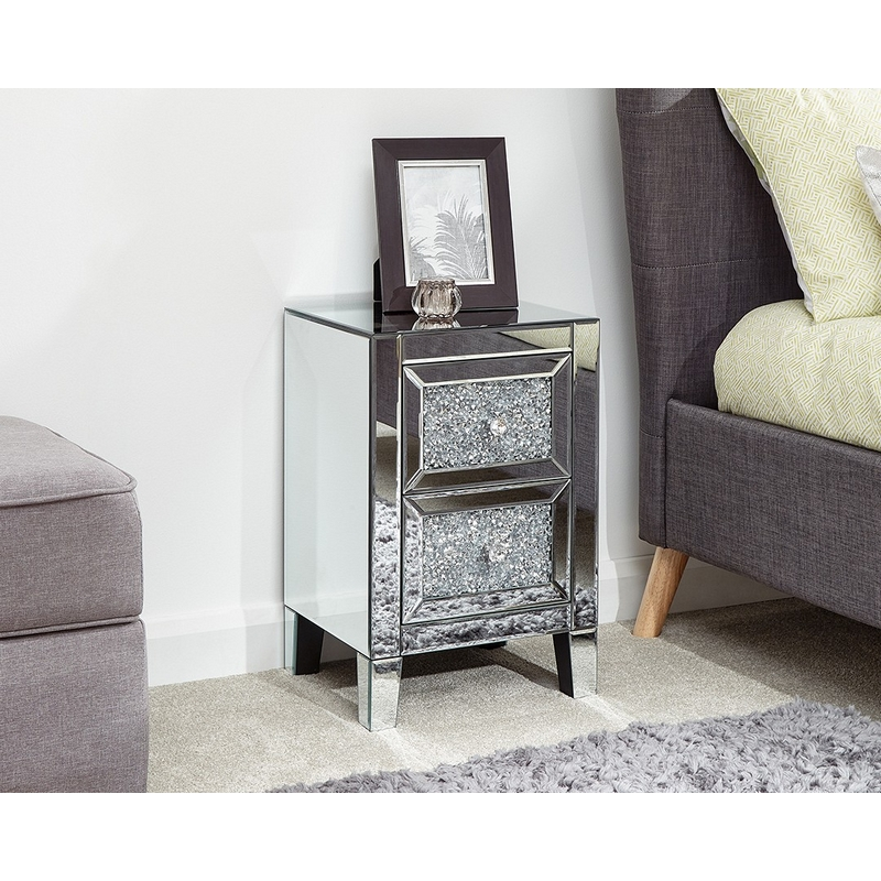 Lucia Mirrored Cream Chest Of 2 Drawers