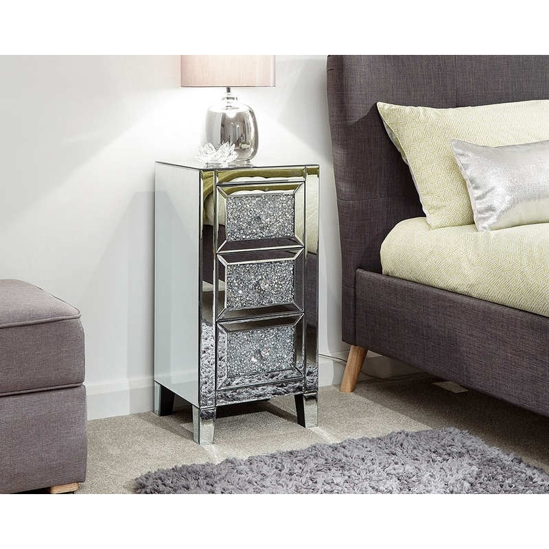 Lucia Mirrored Cream Chest Of 3 Drawers