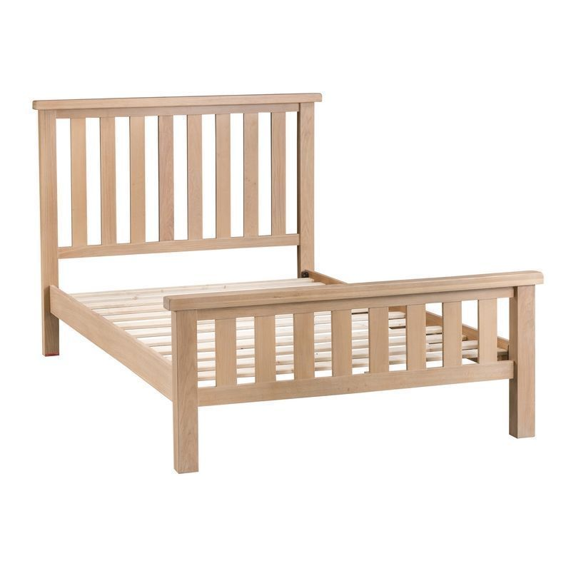 Oak King Size Bed Frame Natural Lime-Washed Oak with Dovetailed Joints