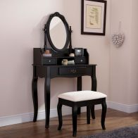 See more information about the Lumberton Dressing Table Black & Pine 3 Drawer With Stool
