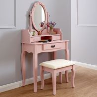 See more information about the Lumberton Dressing Table Pink & Pine 3 Drawer With Stool