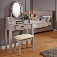 See more information about the Lumberton Dressing Table Grey & Pine 3 Drawer With Stool