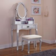 See more information about the Lumberton Dressing Table Silver & Pine 3 Drawer With Stool