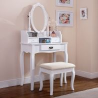 See more information about the Lumberton Dressing Table White & Pine 3 Drawer With Stool