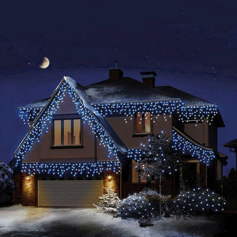 360 LED Blue & White Outdoor IcicleBrights Christmas Lights Mains 10M