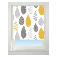See more information about the Universal 60cm Yellow & Grey Leaf Blackout Roller Blind