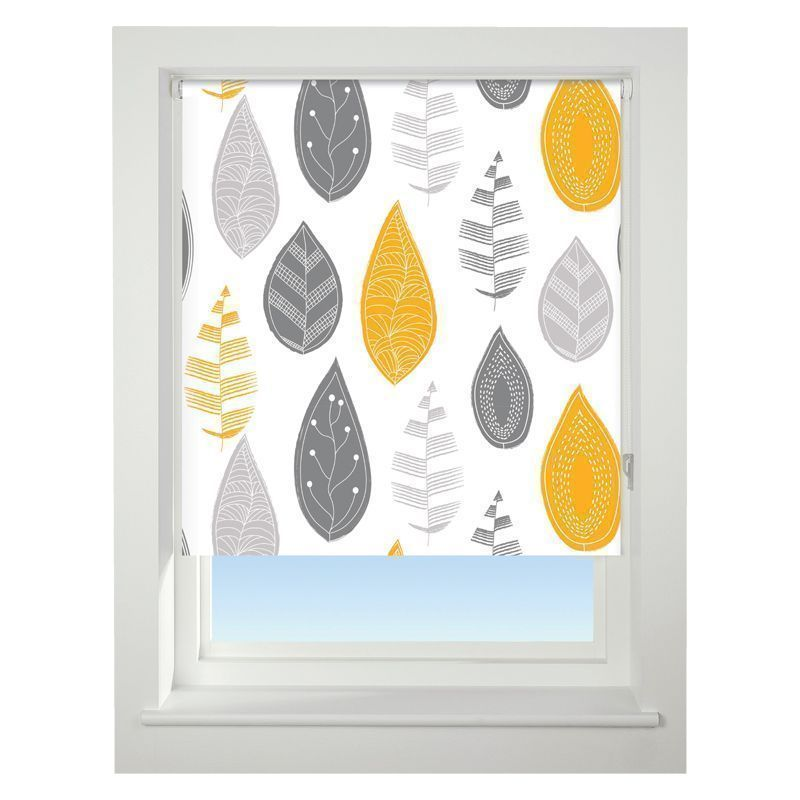 Universal 90cm Yellow & Grey Leaf Blackout Roller Blind