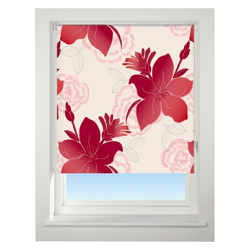 Universal 180cm Red lily Blackout Roller Blind