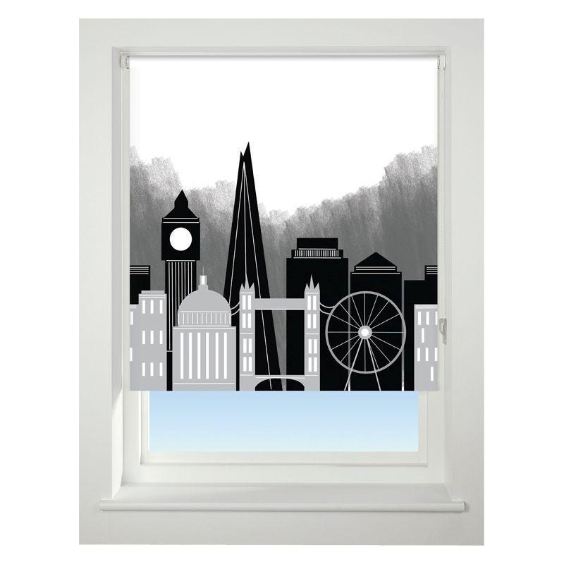 Universal 150cm Black /& Grey London Skyline Blackout Roller Blind