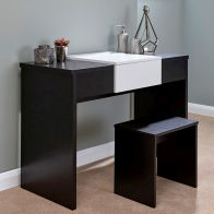 See more information about the Marlow Black & White Top Mirror Dressing Table Set