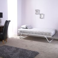 See more information about the Madison Single Trundle Bed White Metal