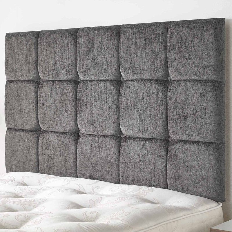 Fairburn Headboard Black & Velour Fabric Single