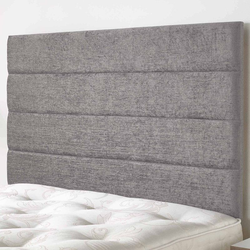 Lune Headboard Silver & Velour Fabric Single