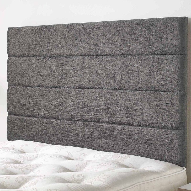 Lune Headboard Dark Grey & Velour Fabric Single