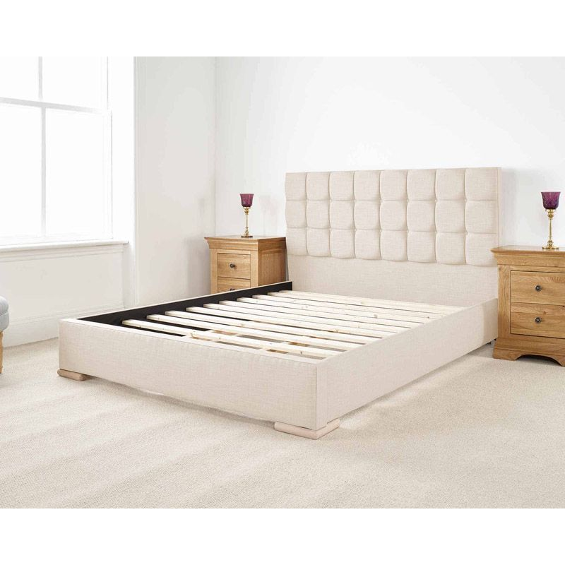 Banks Upholstered Pine Cream 4ft 6in Double Bed Frame