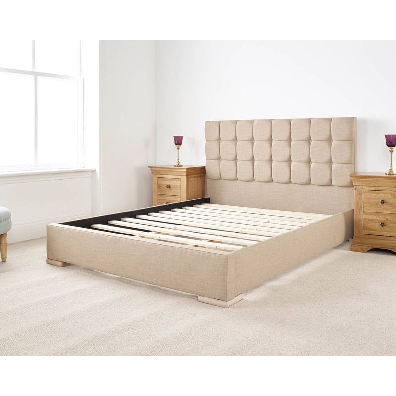 Banks Upholstered Pine Brown 6ft Super King Size Bed Frame