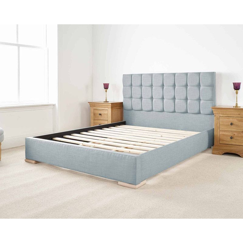 Banks Upholstered Pine Blue 3ft Single Bed Frame