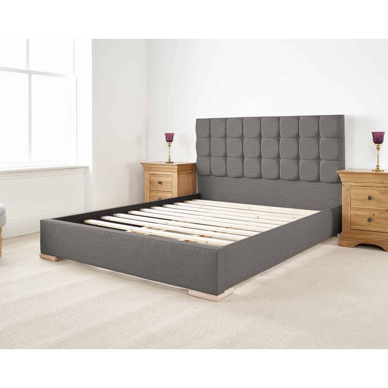 Banks Upholstered Pine Grey 4ft Small Double Bed Frame