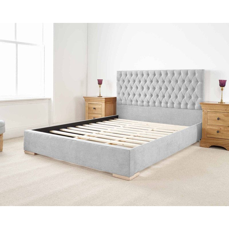 Farnley Upholstered Pine Silver 4ft 6in Double Bed Frame
