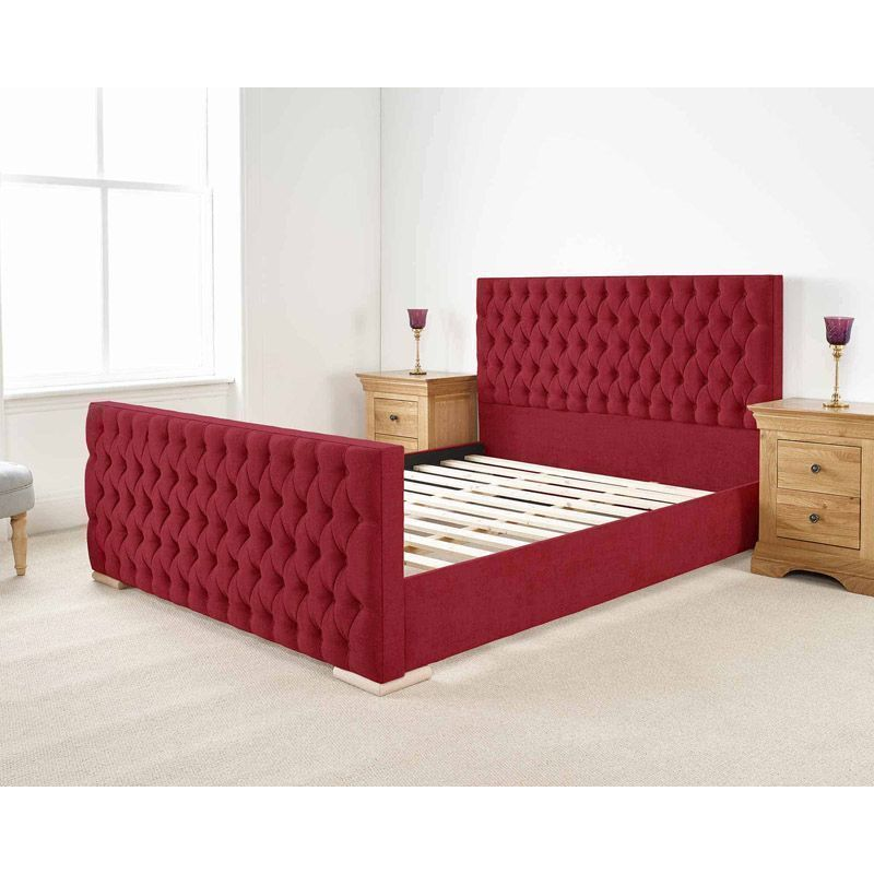Martyn Upholstered Pine Red 3ft Single Bed Frame