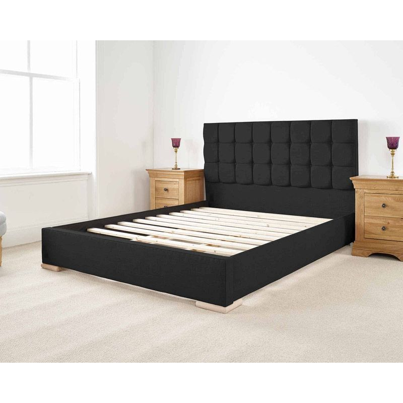 Banks Upholstered Pine Black 4ft 6in Double Bed Frame