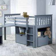 See more information about the Milo Single Cabin Bed Grey With Desk Storage