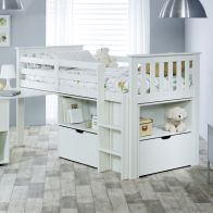 See more information about the Milo Single Cabin Bed White With Desk Storage