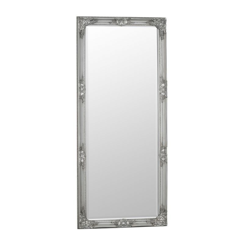 Bevelled Glass Mirror with Wooden Frame (75 x 165cm) - Silver