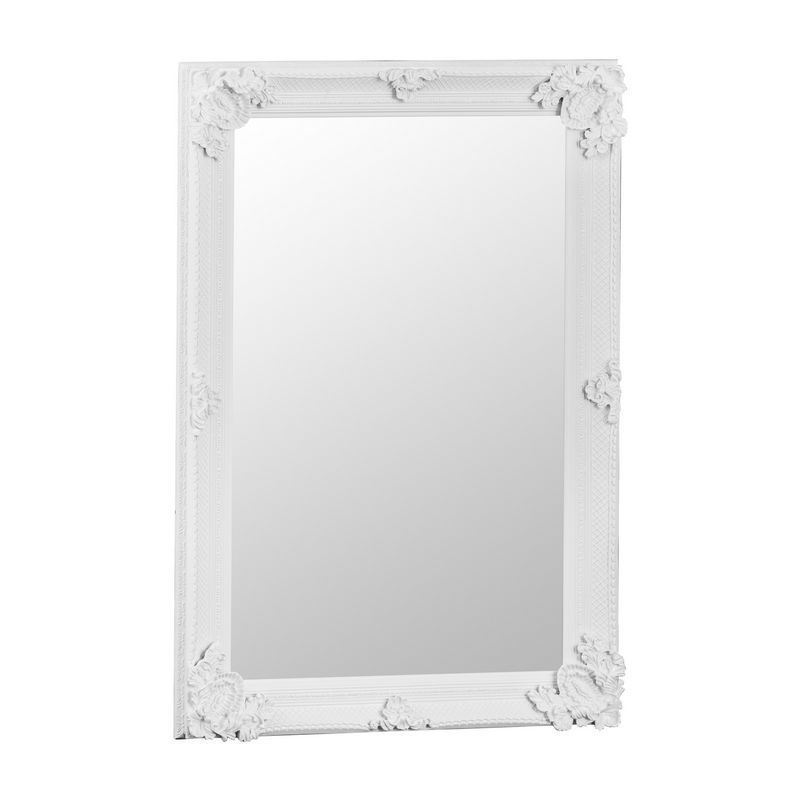 Bevelled Glass Mirror with Wooden Frame (80 x 115cm) - White