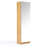 See more information about the Mirrored Oak Finish Shoe Cabinet 180cm