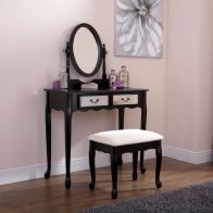 See more information about the Mirrored Pine, MDF Black 2 Drawer Mirror Dressing Table & Stool Set