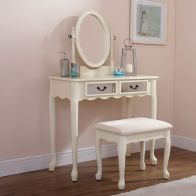 See more information about the Mirrored Cream Dressing Table & Stool Set