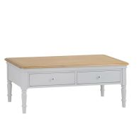 See more information about the Mulbarton Coffee Table Grey & Oak 2 Drawer