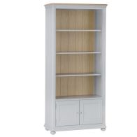 See more information about the Mulbarton Large Bookcase Grey & Oak 2 Door 4 Shelf