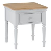 See more information about the Mulbarton Lamp Table Grey & Oak 1 Drawer