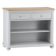 See more information about the Mulbarton Small Bookcase Grey & Oak 2 Shelf 2 Drawer