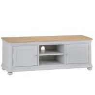See more information about the Mulbarton TV Unit Grey & Oak 2 Door 2 Shelf