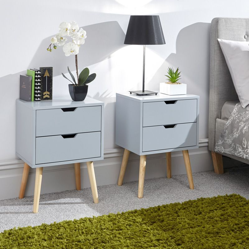 Nyborg Bedside Light Grey 2 Drawers - Set of 2