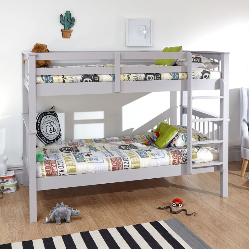 Novaro Pine Bunk Bed 3ft Grey Painted Finish Bed Frame
