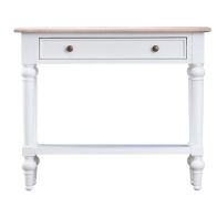 See more information about the Painted Console Table Oak & White 1 Shelf 1 Drawer