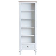 See more information about the Ebenezer Oak Large Narrow 1 Drawer 5 Shelf Bookcase