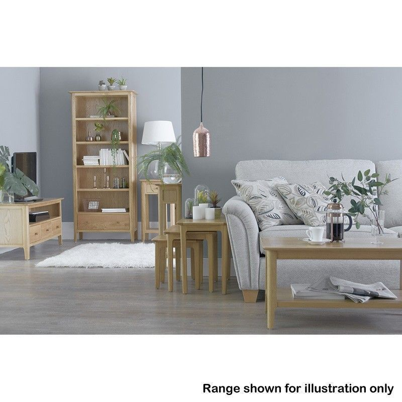 Bayview Small Narrow Bookcase Oak 3 Shelf - Buy Online at ...