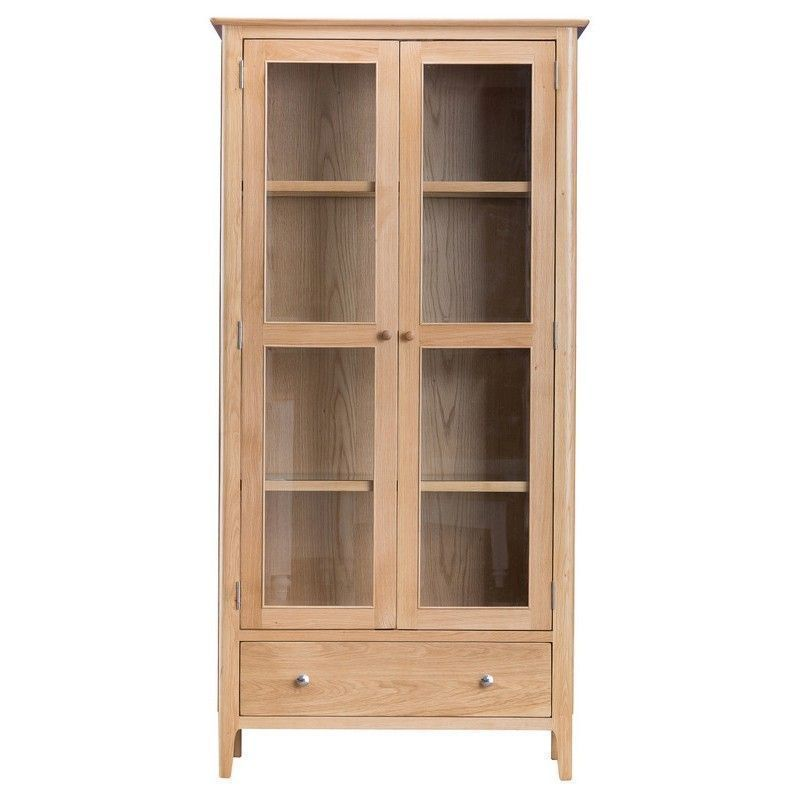 Bayview Light Oak 4 Shelf Display Cabinet With Lights