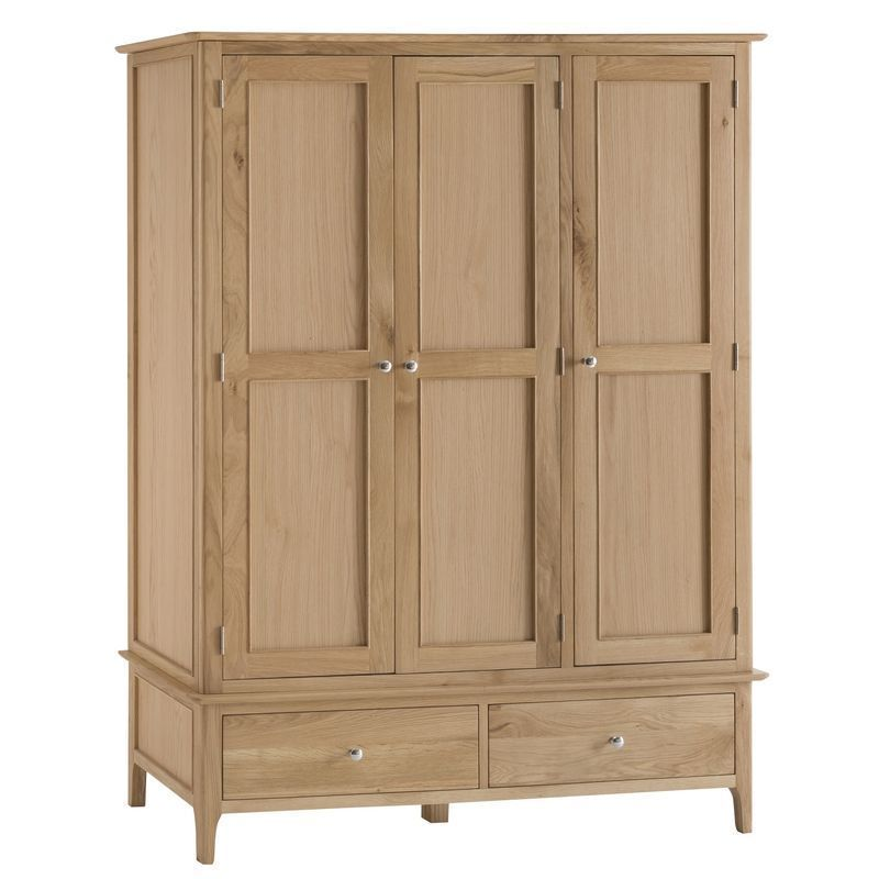 Bayview Large Wardrobe Oak 3 Door 2 Drawer