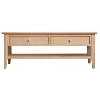 See more information about the Bayview Large Coffee Table Oak 1 Shelf 2 Drawer