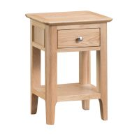 See more information about the Bayview Side Table Oak 1 Shelf 1 Drawer
