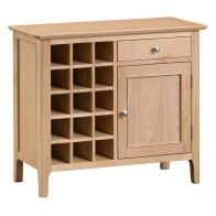 See more information about the Bayview Wine Rack Oak 1 Door 1 Drawer